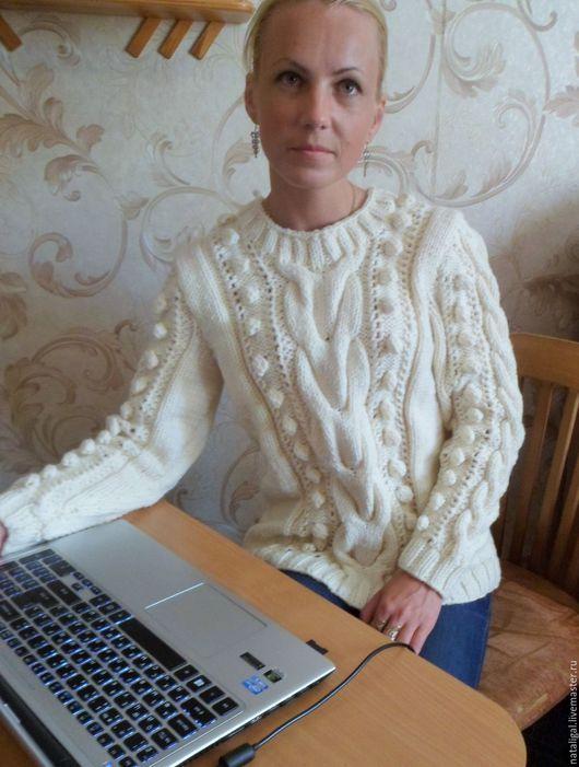 """Кофты и свитера ручной работы. Ярмарка Мастеров - ручная работа. Купить Свитер """"Белый снег"""". Handmade. Белый, теплая одежда"""