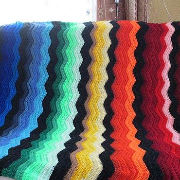 Текстиль ручной работы. Ярмарка Мастеров - ручная работа Пледы: Плед радужный. Handmade.