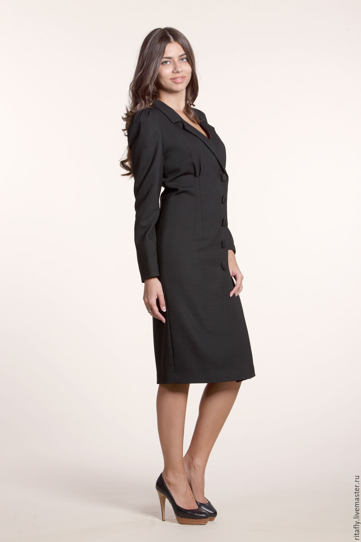 Фото стильное платье халат на пуговицах