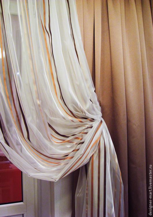 Текстиль, ковры ручной работы. Ярмарка Мастеров - ручная работа. Купить Шторы Модерн. Handmade. Коричневый, шторы, портьерная ткань