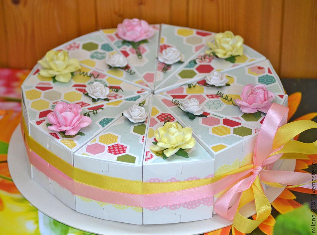 как сделать торт из бумаги с пожеланиями изготовлении