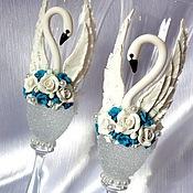 """Свадебный салон ручной работы. Ярмарка Мастеров - ручная работа Свадебные бокалы """"Лебединая верность"""" (бирюза). Handmade."""
