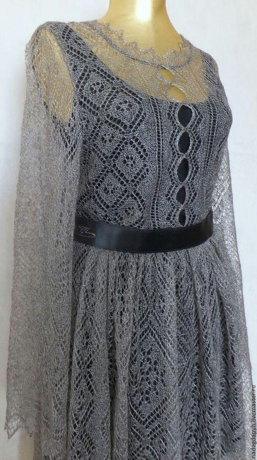 Платья ручной работы. Ярмарка Мастеров - ручная работа. Купить 134 платье вязаное пуховое , одежда. Handmade. Серый