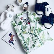 """Одежда handmade. Livemaster - original item Женская хлопковая пижама """"Тропики"""". Handmade."""