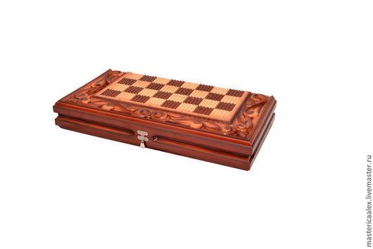 Шкатулки ручной работы. Ярмарка Мастеров - ручная работа. Купить Деревянные нарды шахматы ручной работы. Handmade. Коричневый, шахматы