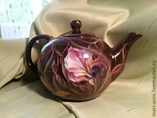 Декоративная посуда ручной работы. Ярмарка Мастеров - ручная работа. Купить Расписной керамический чайник. Ирисы. Handmade. Цветы, чайник