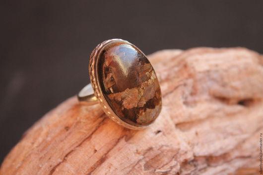 Кольца ручной работы. Ярмарка Мастеров - ручная работа. Купить Кольцо с бронзитом Посеребоение. Handmade. Коричневый, кольцо с камнем