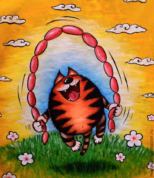 """Футболки, майки ручной работы. Ярмарка Мастеров - ручная работа. Купить Футболка """"Счастье ЕСТЬ!"""". Handmade. Кот, сосиски, радость"""