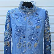Одежда ручной работы. Ярмарка Мастеров - ручная работа голубой жакет. Handmade.