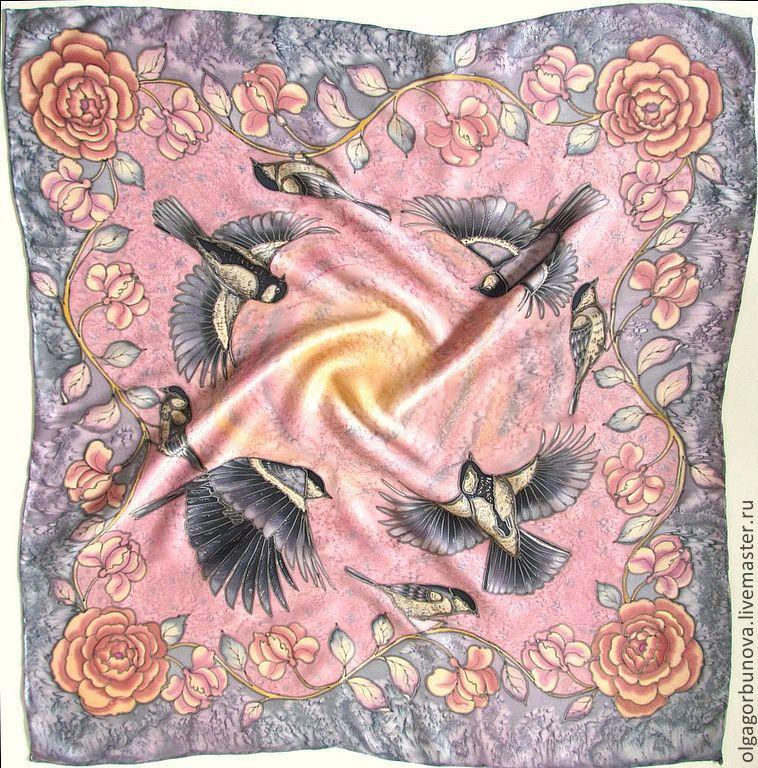 Batik scarf 'Spring birds', Shawls1, Yaroslavl,  Фото №1