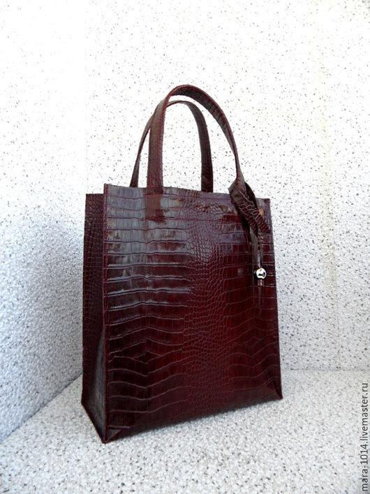 Женские сумки ручной работы. Ярмарка Мастеров - ручная работа. Купить СИТИ SCARLET сумка из бордовой кожи, сумка-пакет, шоппер. Handmade.