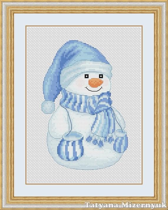 Вышивка снеговик крестиком