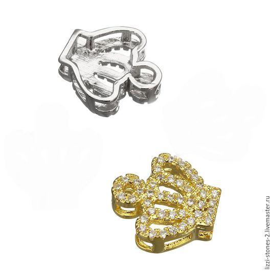 Бусина-коннектор Корона mini, серебро и золото (Milano) Евгения (Lizzi-stones-2)