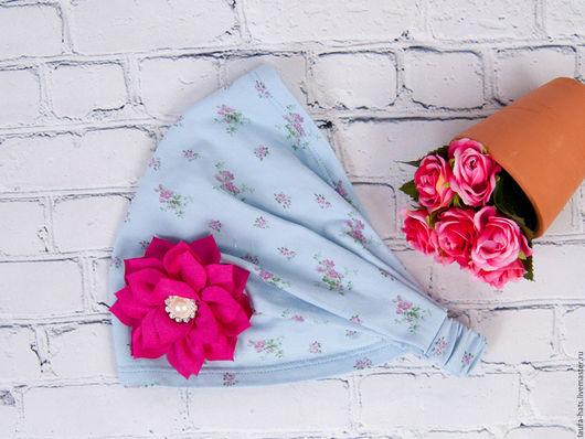 Шапки и шарфы ручной работы. Ярмарка Мастеров - ручная работа. Купить Бандана-косынка для девочки Laura. Handmade. Голубой, цветочный
