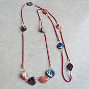 handmade. Livemaster - original item Rope 3-in1 necklace made of leather, mother-of-pearl and rock crystal. Handmade.