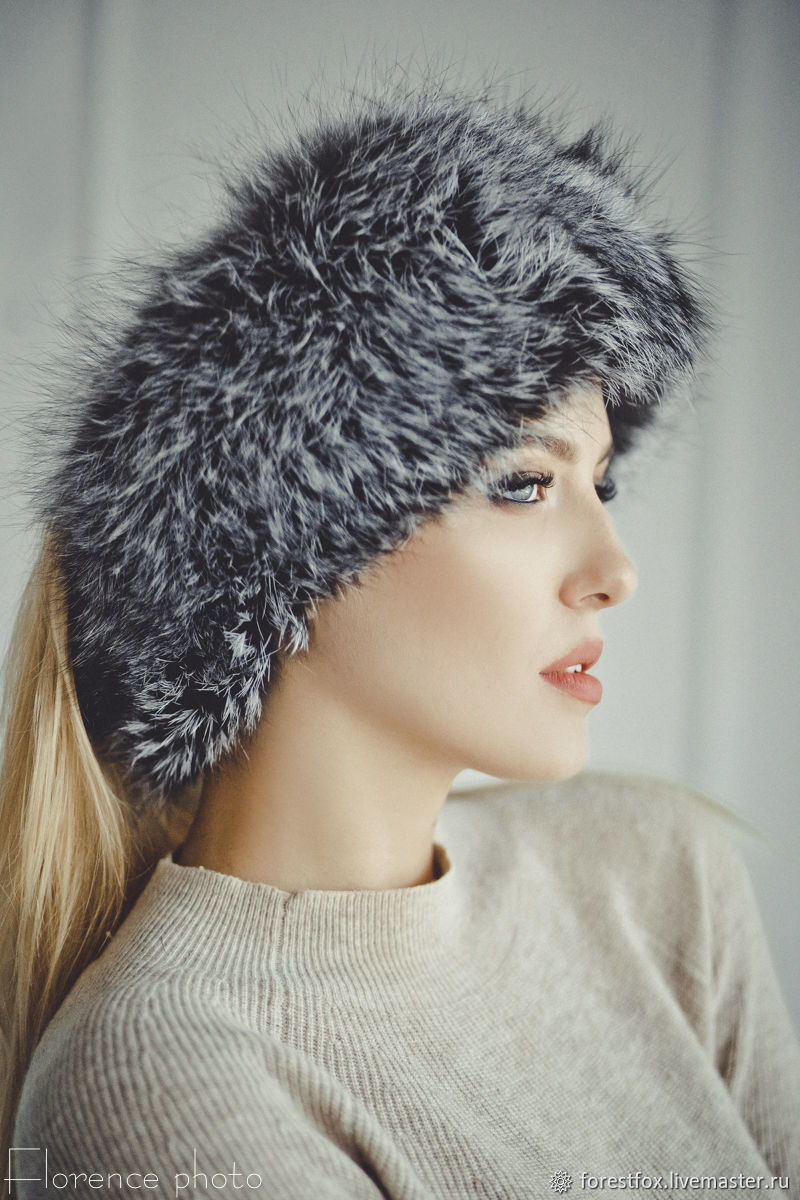 Fox fur headband in silver, Bandage, Moscow,  Фото №1