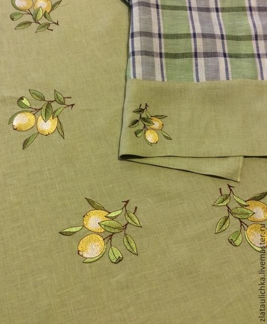 """Текстиль, ковры ручной работы. Ярмарка Мастеров - ручная работа. Купить Скатерть с вышивкой """"Лимон"""". Handmade. Скатерть с вышивкой"""