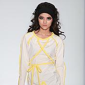 Одежда ручной работы. Ярмарка Мастеров - ручная работа Платье белое с желтыми линиями. Handmade.