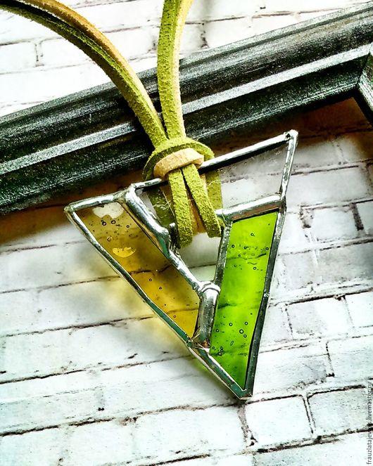 Кулоны, подвески ручной работы. Ярмарка Мастеров - ручная работа. Купить Желто-Зеленый Кулон Треугольник. Handmade. Салатовый