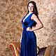 Платье в пол без рукава синий бархат