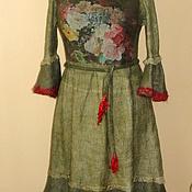 """Одежда ручной работы. Ярмарка Мастеров - ручная работа Валяное платье """" Букет"""" оливковый зелёный шерстяное зимнее. Handmade."""
