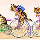 """Животные ручной работы. Ярмарка Мастеров - ручная работа. Купить Картина вышитая бисером на шелке """"Велосипедисты"""". Handmade. Вышивка бисером"""