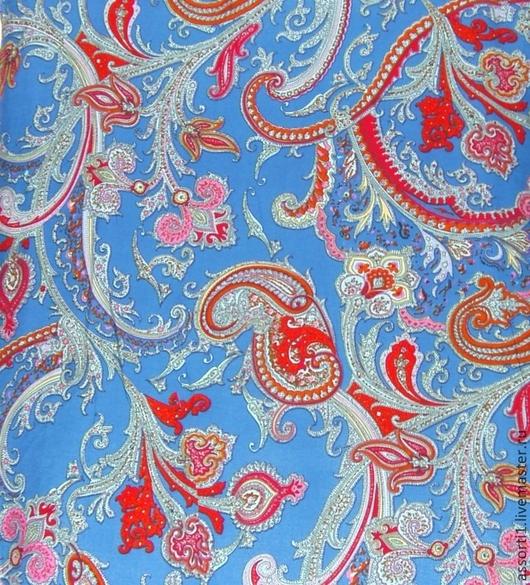 """Шитье ручной работы. Ярмарка Мастеров - ручная работа. Купить Штапель """"Пейсли на синем фоне"""".. Handmade. Ткань компаньон, для сумок"""
