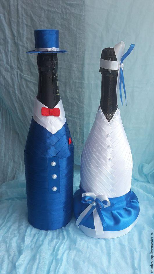 """Свадебные аксессуары ручной работы. Ярмарка Мастеров - ручная работа. Купить Свадебные бутылки """"Ромео и Джульетта"""". Handmade. Комбинированный"""