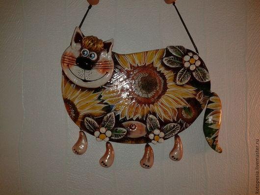 Подвески ручной работы. Ярмарка Мастеров - ручная работа. Купить кот мартовсий в профиль. Handmade. Желтый, подсолнухи, подвеска, подарок