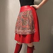 Одежда ручной работы. Ярмарка Мастеров - ручная работа Замшевая юбка в русском стиле. Handmade.