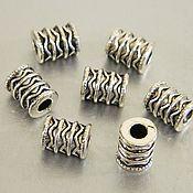 Материалы для творчества handmade. Livemaster - original item Divider beads, carved, silver color, 10 x 8 x 3 mm. for PCs. Handmade.