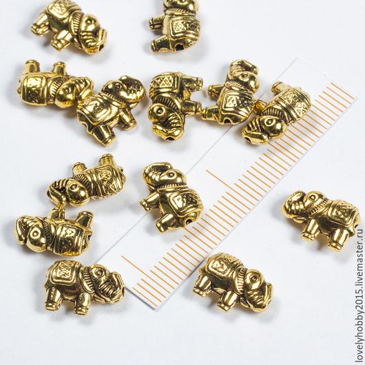бусина металлическая СЛОН золото