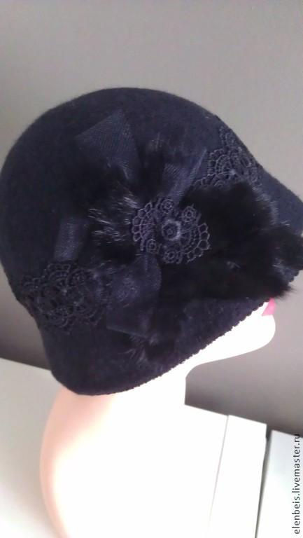 Шляпа черная `Винтаж`