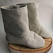 Обувь ручной работы handmade. Livemaster - original item Boots home linen is made from flax