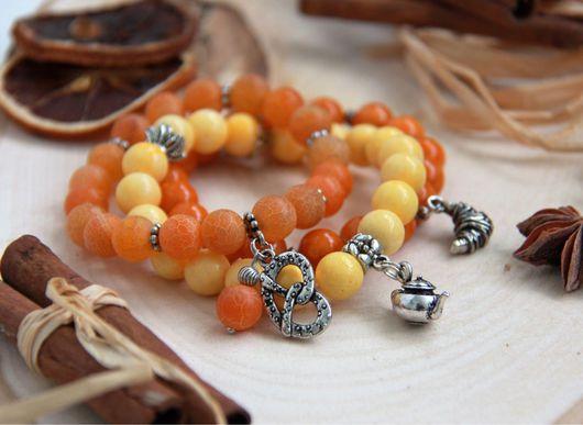 Браслеты ручной работы. Ярмарка Мастеров - ручная работа. Купить Апельсиновый десерт комплект браслетов из натуральных камней. Handmade. Оранжевый