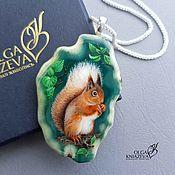 Украшения handmade. Livemaster - original item Custom-made SQUIRREL pendants - jewelry painting on stone. Handmade.