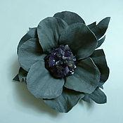 Украшения ручной работы. Ярмарка Мастеров - ручная работа брошь -цветок серая. Handmade.
