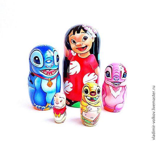 Матрешки ручной работы. Ярмарка Мастеров - ручная работа. Купить Матрешка Лило и Стич, персонажи мультиков Lilo & Stitch. Handmade.