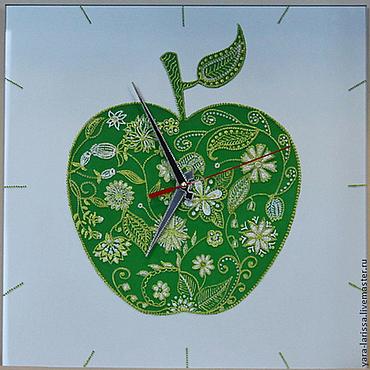 """Для дома и интерьера ручной работы. Ярмарка Мастеров - ручная работа Часы """"Зелёное яблоко"""" интерьерные настенные. Handmade."""