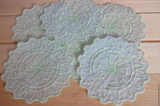 """Текстиль, ковры ручной работы. Ярмарка Мастеров - ручная работа. Купить Набор салфеток под бокалы """"Нежные цветы"""". Handmade."""