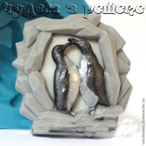 Материалы для косметики ручной работы. Ярмарка Мастеров - ручная работа. Купить Пингвины, объемная силиконовая форма. Handmade. Форма для мыла