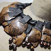 """Чокер ручной работы. Ярмарка Мастеров - ручная работа Кожаный чокер с кулонами из кокоса """"Хампи"""". Handmade."""