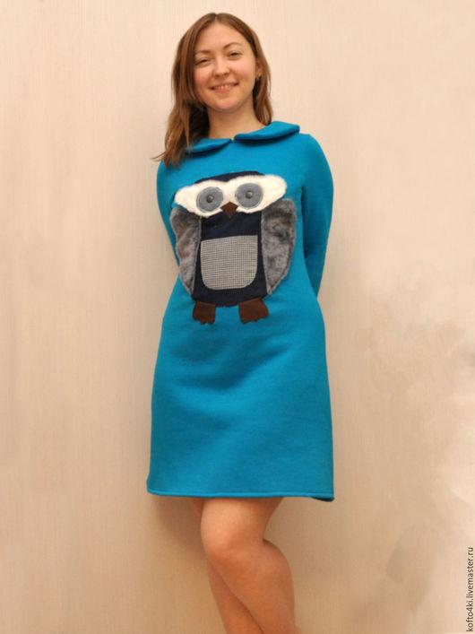 Одежда для девочек, ручной работы. Ярмарка Мастеров - ручная работа. Купить Тёплое платье из футера 3-х нитки с начесом с совой. Handmade.
