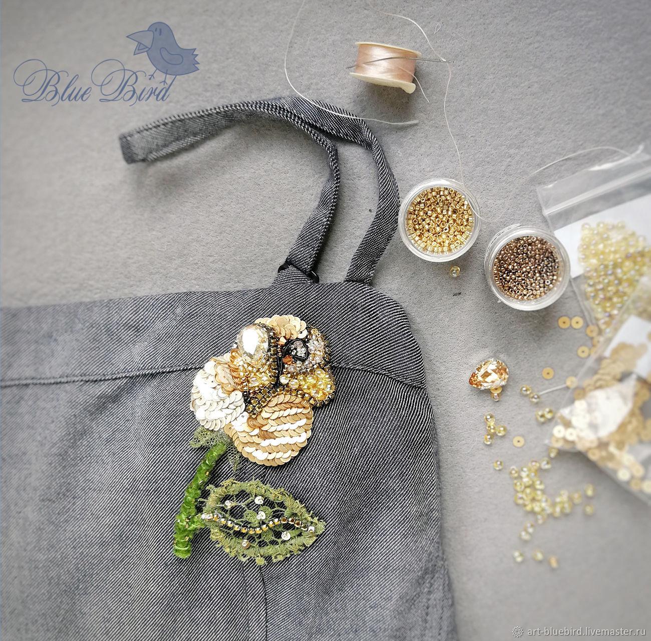 """Броши ручной работы. Ярмарка Мастеров - ручная работа. Купить """"Золотая Роза""""- брошь авторская, ручная работы, вышивка. Handmade."""