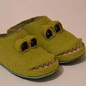 Обувь ручной работы. Ярмарка Мастеров - ручная работа Тапочки валяные - Крокодильчики. Handmade.