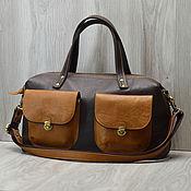 """Кожаная сумка-саквояж с карманами """"Tote bag"""". Коричневый. Рыжий"""
