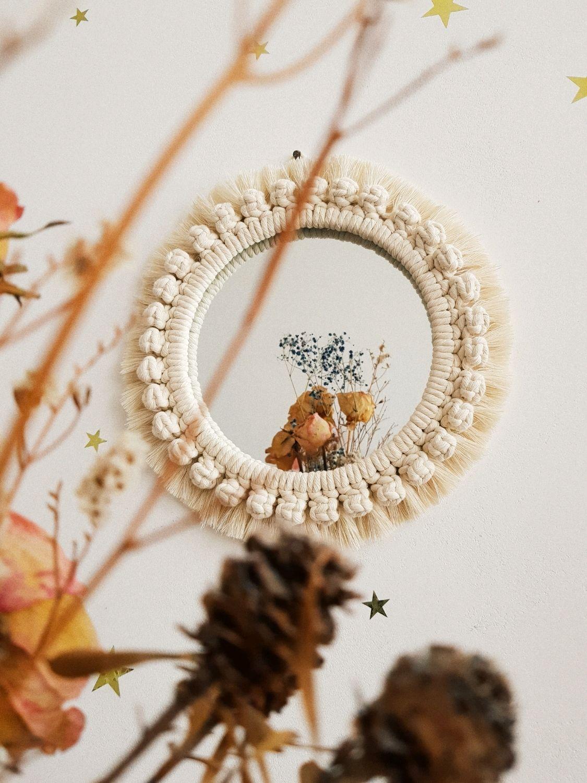 Круглое настенное зеркало макраме с узором, Зеркала, Санкт-Петербург,  Фото №1