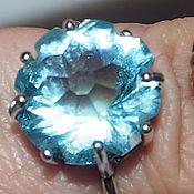 """Украшения ручной работы. Ярмарка Мастеров - ручная работа Кольцо """"Голубой цветок"""" кварц, серебрение,  17 размер. Handmade."""