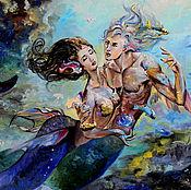 Картины и панно ручной работы. Ярмарка Мастеров - ручная работа картина маслом Чувства на глубине. Handmade.