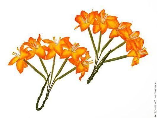 Открытки и скрапбукинг ручной работы. Ярмарка Мастеров - ручная работа. Купить Набор бумажных цветов Лилии на стебле Желто-оранжевые 290405. Handmade.